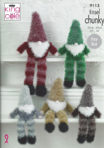 King Cole Tinsel Chunky - 9113 Tinsel Gnomes (Three Sizes) Knitting Pattern
